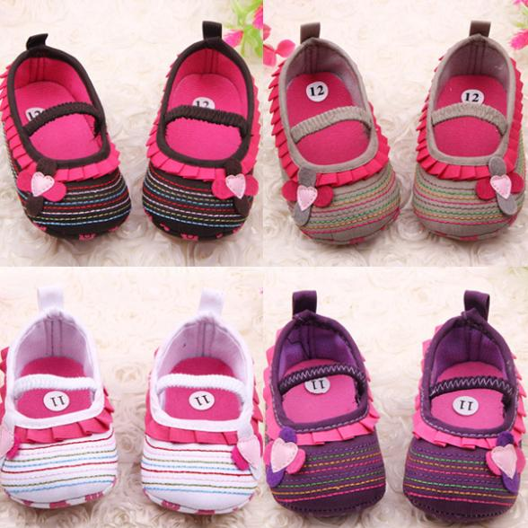 Stylish 0-12 M Sweet Newborn Baby Girls Flower Ruffled Shoes Toddler Soft Bottom Kids Crib First Walkers
