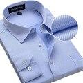 2016 Novo Design de Sarja de Algodão Puro Cor Branca Formal do Negócio Vestido camisas Dos Homens de Moda Manga Comprida Camisa Social Grande Tamanho 5XL 6XL