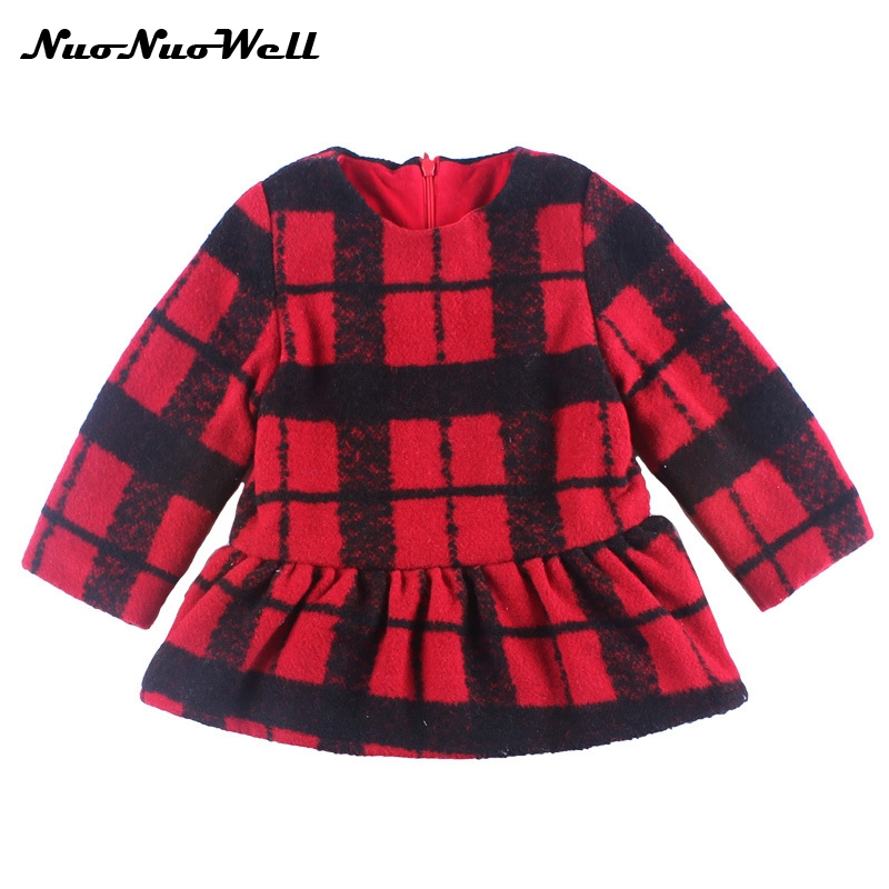 NNW New 2017 Autumn Baby Girls Plaid Casual Kids Dress Cute Long Sleeve Fashion Dresses Children Winter Clothes Warm Girls Dress short sleeve plaid princess dress sundress new cute plaid kids toddler baby girls clothes dresses summer