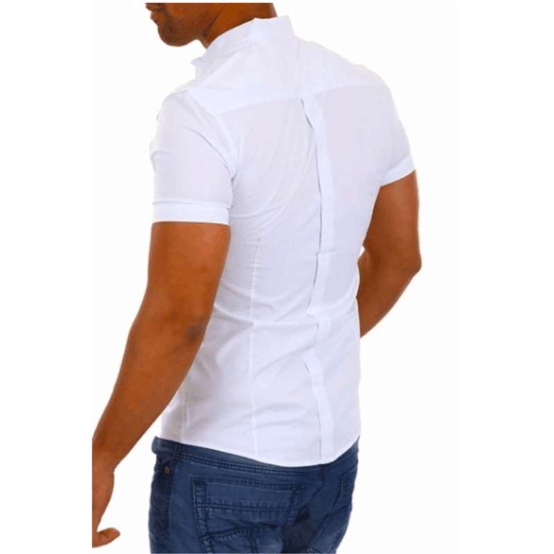 Brand Men Short Sleeve Shirt Fashion Solid White Slim Fit Social Shirt Stand Collar Patchwork Casual Business Shirt Summer Tops