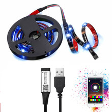 USB LED Strip RGB LED Yang Dapat Diganti TV Pencahayaan Latar Belakang Bluetooth WIFI 1 M 5 M DIY 5V LED Flexible lampu RGB LED Strip 5050(China)