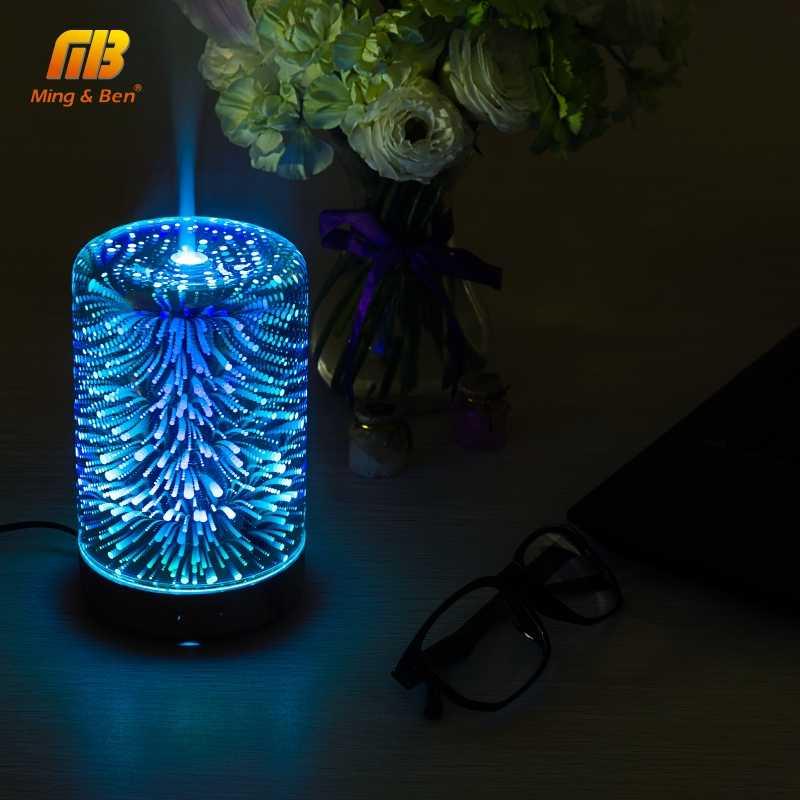 3D красочный фейерверк светодиодный ночник увлажнитель воздуха распылитель ароматических масел для дома светодиодный туман ультразвуковой распылитель лампа для ароматерапии