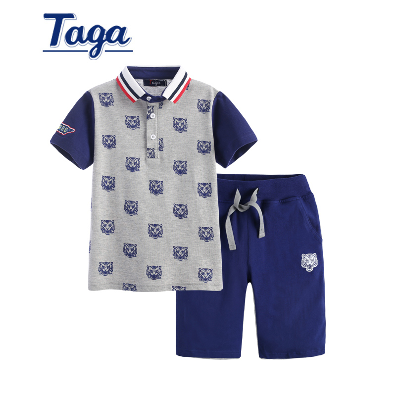 Childrens Sets TAGA Baby Boy Clothes Baby POLO Shirt+ Shorts Clothing Sets Tiger Printing Kids Tops Big Boy Sports clothes 2pcs