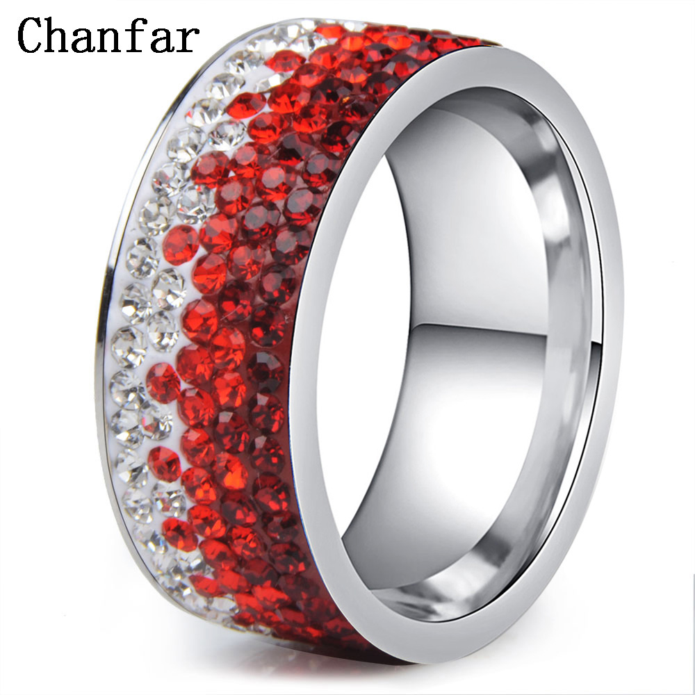 Chanfar 6 7 8 9 10 sizes Hot Sale Elegant AAA Crystal Ring Love Charm Stainless Steel Rings For Women Female Male Jewelry 3