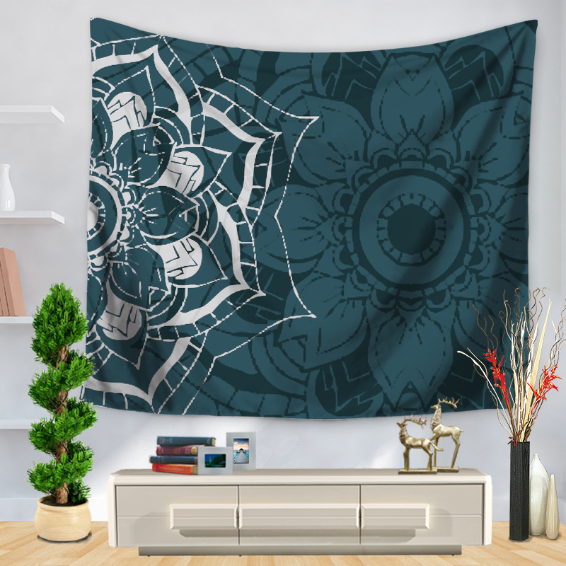 Image 3 - CAMMITEVER Table Cloths Indian Tapestry Black White Gray Blue Green Bohemian Tapestry Wall Hanging Mandala Towel Bedspread Shawl-in Tapestry from Home & Garden