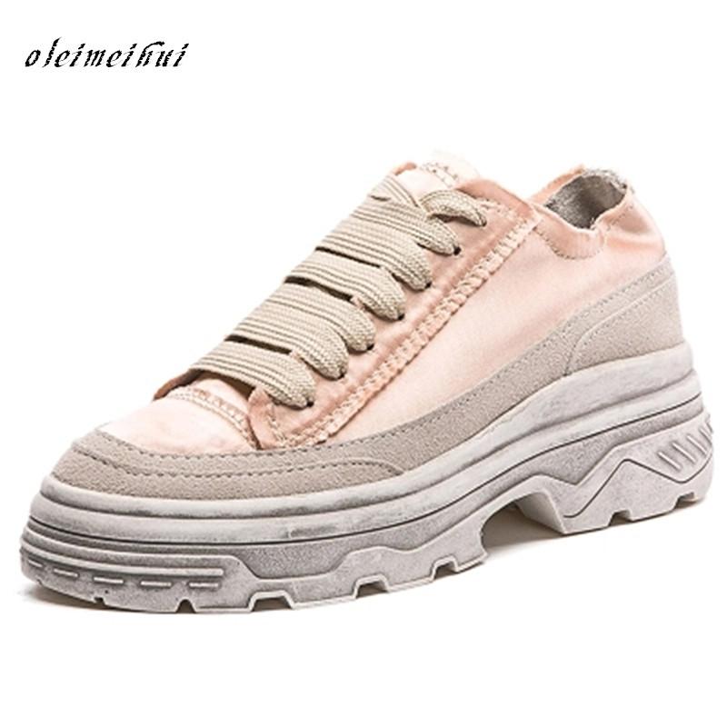 Hot Sale Fashion sneakers Silk Brand Shoes Lace Up Square Toe Embroidery Wedge Women sweet girls shoes chaussure femme female floral embroidery lace up sneakers