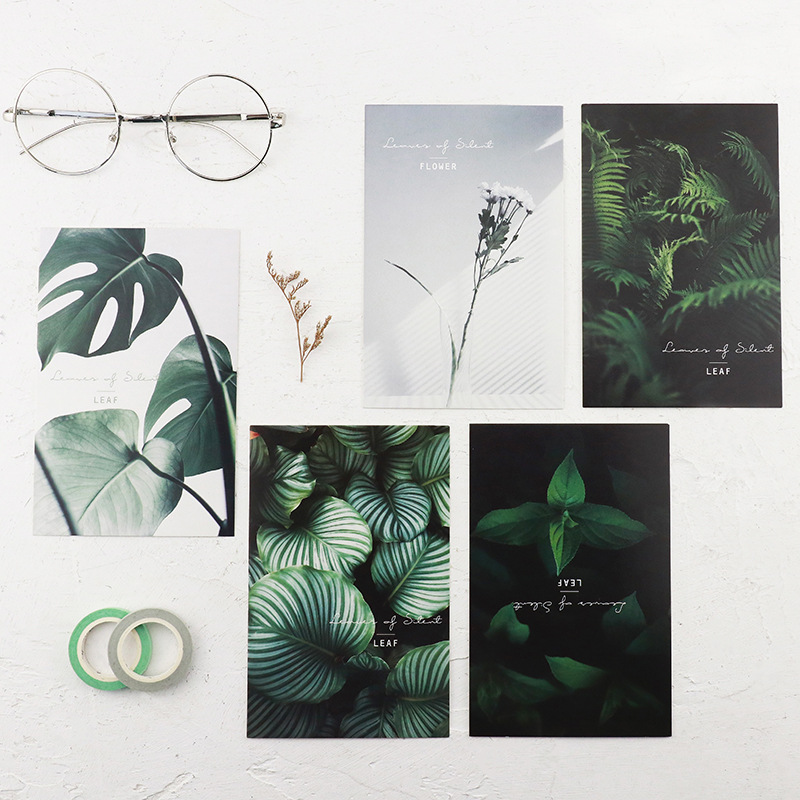 30pcs/lot Leaves Of Silent Postcards Leaf Plant Design Instagram Icon Style Note Card Lomo Postcard Chic Style Creative Gift