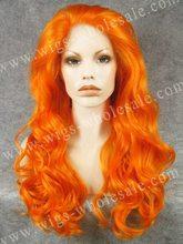 Resaltar peinados sintético peluca del frente del cordón sintético largo ondulado cosplay peluca naranja