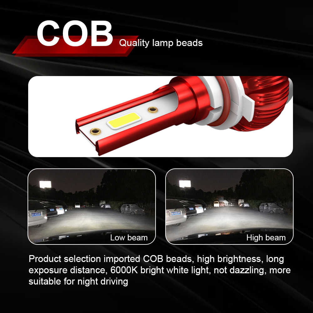 One Pair LED Bulb 10000LM Headlight H7 H4 Hi/Lo Beam H1 H11 9005 9006 Auto Led Head light Car Styling Lamps 6000K Cold White