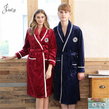 winter thicken Coral Fleece Bathrobes men women home clothing flannel robe autumn robes couples pure color sleepwear V-neck