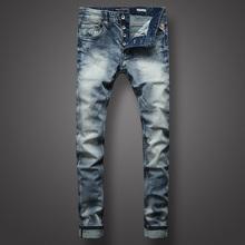 Włoski styl modne dżinsy męskie jasnoniebieskie Slim Fit elastyczne Vintage Designer jeansy męskie najwyższej jakości guziki klasyczne jeansy Homme tanie tanio Przycisk fly Logo Stałe Denim RNG602 Proste W trudnej sytuacji Medium WHITE Szczupła Midweight Pełnej długości Stripe