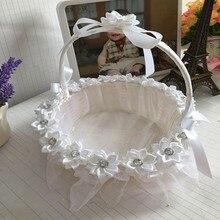Белая/красная/фиолетовая/Розовая кружевная Свадебная церемония, цветочная корзина для девочек, переносная Цветочная корзина для подружек невесты, Романтические свадебные сувениры