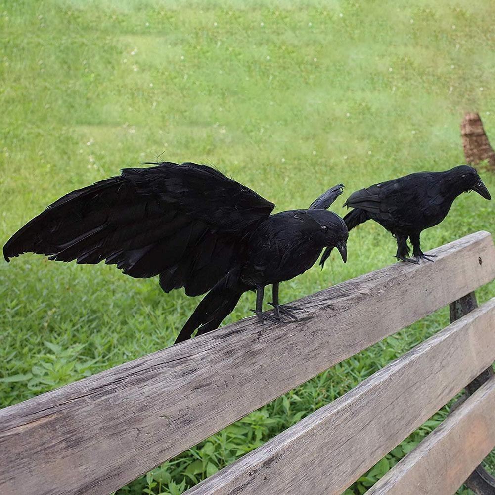 Halloween Artificial Feathered Crows Raven Model Party Props Garden Yard Decoration