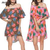 Femmes sexy d'été bohème Plage Robe fruits motif Courtes encolure dos nu Asymétrique robe noir rose blanc vert xxl