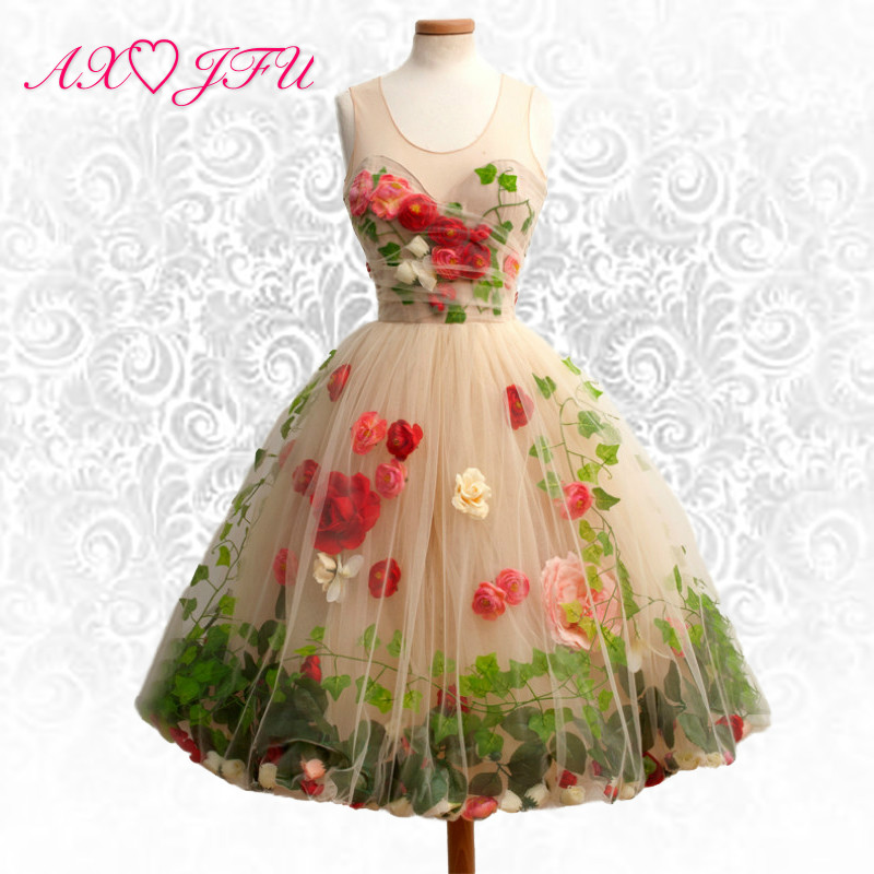 AXJFU red flower champagne lace   evening     dress   Luxury promotional paragraph Slim rose princess bridal   evening     dress
