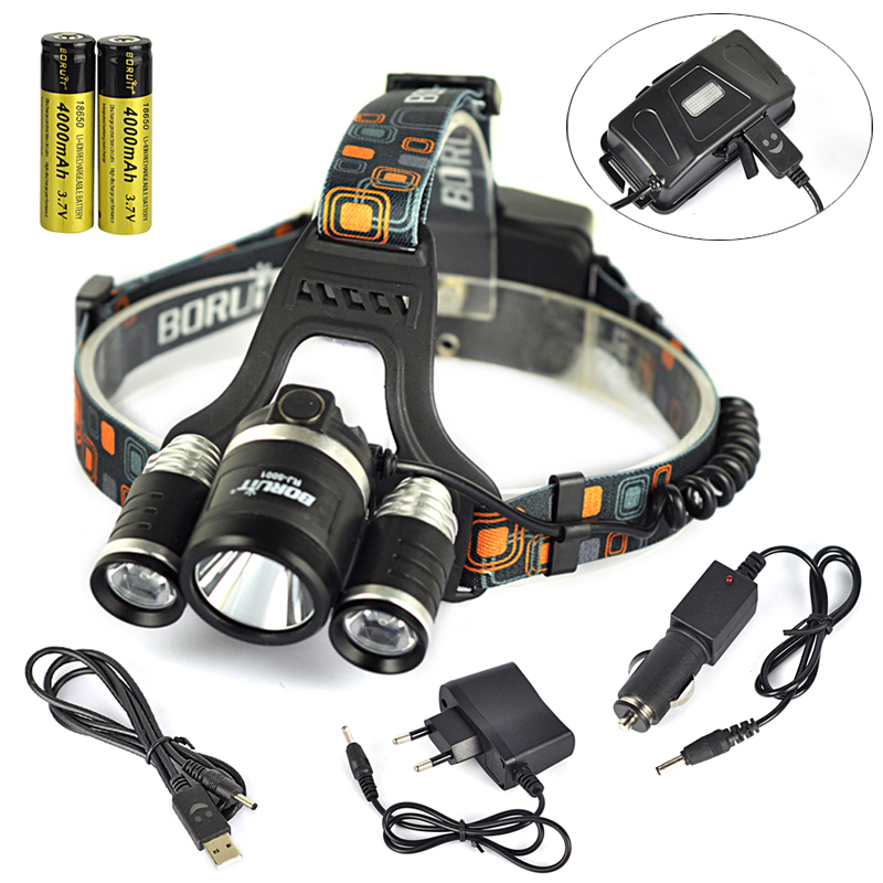 Boruit RJ500110000 Lumen 3 XML L2 LED Headlamp Fishing Camping Hight Power LED Headlamp Headlight with 18650 Battery USB Charger