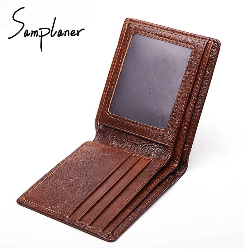 Genuine Leather Casual Short Men Wallets Super Thin Cowhide Men Purse Small Card Holder Top Quality Men's Photo Coin Purse Male thin genuine leather men wallet small casual wallets purse card holder coin mini bags top quality cow leather carteira