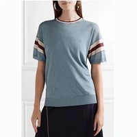 Women Blue Short Sleeve Sweet Knit T shirt Top