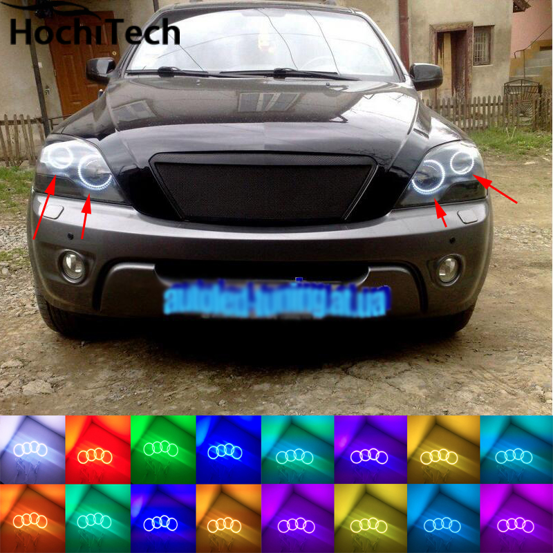 for kia Sorento 2006 2007 2008 2009 RGB LED headlight rings halo angel demon eyes with remote controller for fiat linea 2007 208 2009 2010 2011 2012 2013 2014 2015 rgb led headlight rings halo angel demon eyes with remote controller