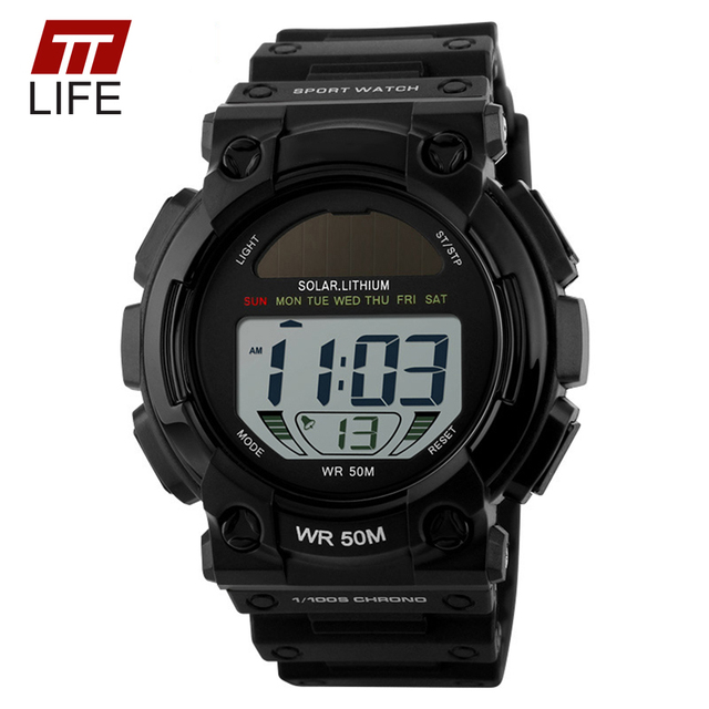 TTLIFE Solar Power Fashion Outdoor Sports Watches Men LED Digital Watch Male Clock Casual Men's Wristwatches Relogio Masculino