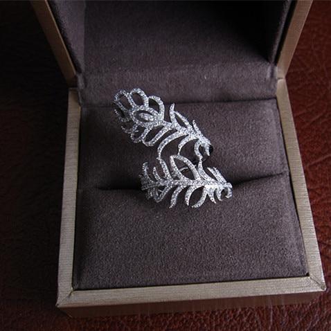 купить Fashion Women's full finger Ring ,Micro Pave Cubic Zirconia feather shaped, Brass , Rhodium Plated Ring,R0158 онлайн