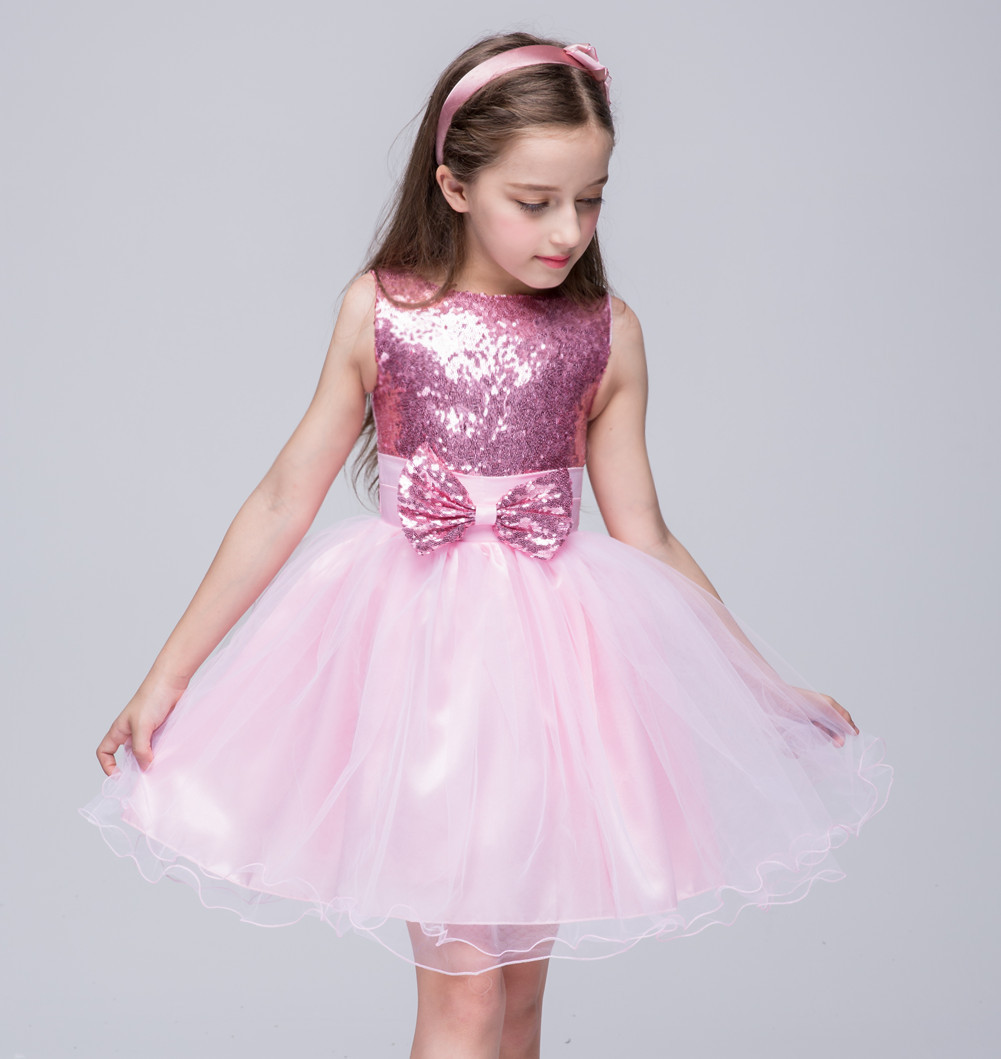 Children Girls Party Dresses for Princess Girl dress Bow Pink Baby Girl sleeveless Dress for 4 5 6 7 8 9 10 years children s spring and autumn girls bow plaid child children s cotton long sleeved dress baby girl clothes 2 3 4 5 6 7 years