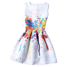 Women Fashionable Summer Ladies Elegant Multicolor Sleeveless Splash Ink Print Jacquard A Line Dress