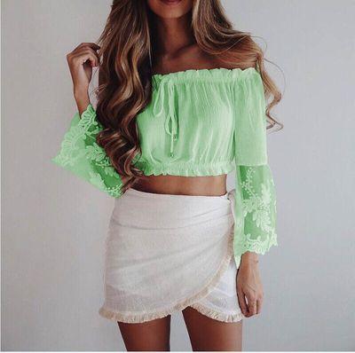 Dentelle Paragraphe Chemises Tops white Vêtements De Green Femmes Été Col Mode Nouveau 2018 Tube Solide Couleur Sexy Mot pink Court Blouses Iwq6nfp7A