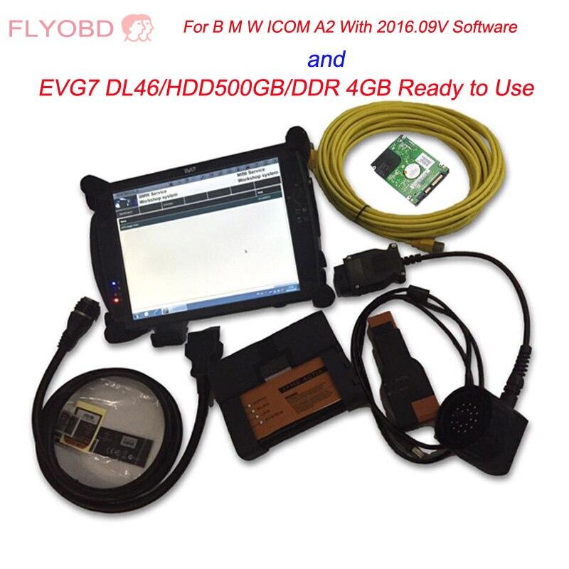 Qualité supérieure ICOM A2 Avec 2019.03 v ICOM Logiciel et EVG7 DL46/HDD500GB/DDR 4 GB De Diagnostic Contrôleur Tablet PC Prêt À Utiliser