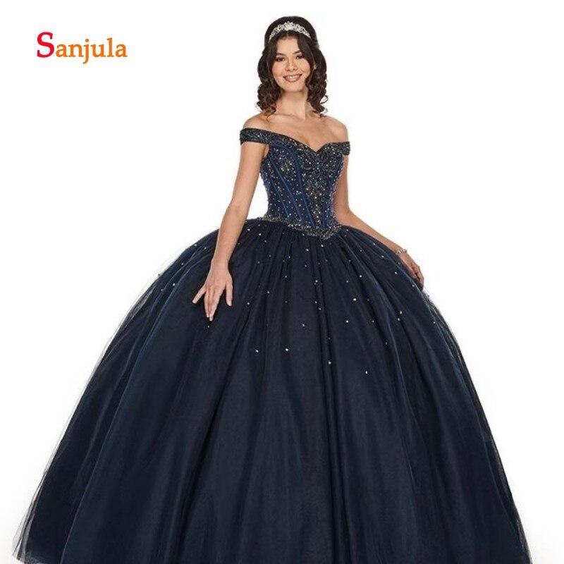 Princesse robe de bal Quinceanera robes chérie hors de l'épaule brillant perlé paillettes doux 16 robe manches amovibles D726