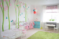 Large Baby Nursery Tree Decal 6 Birch Trees With Birds Custom Color Wall Stickers For Kids