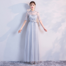 Crepe Embroidery Maxi Dress  Bridesmaid Dress  Woman Dresses for Party and Wedding  Grey Colour Back of Bandage v neck red bean pink colour above knee mini dress satin dress women wedding party bridesmaid dress back of bandage
