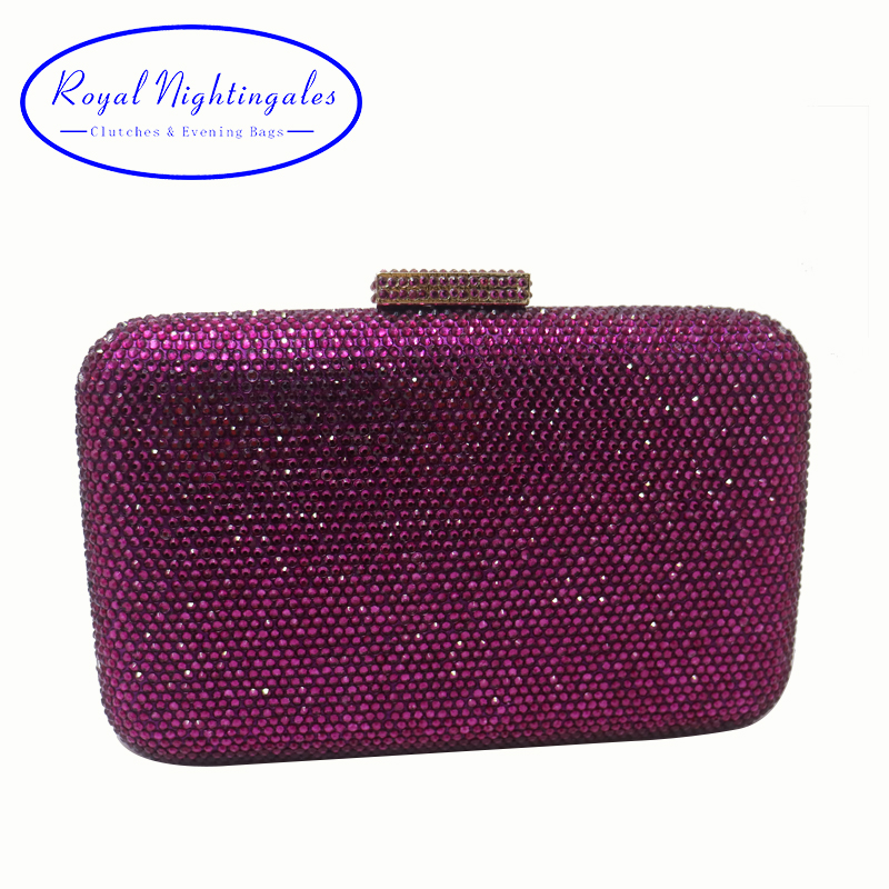 Royal Nightingales Large Hard Box Crystals Clutch Purse Evening Bags Red Black Purple Navy White Silver Green Grey Gold цена