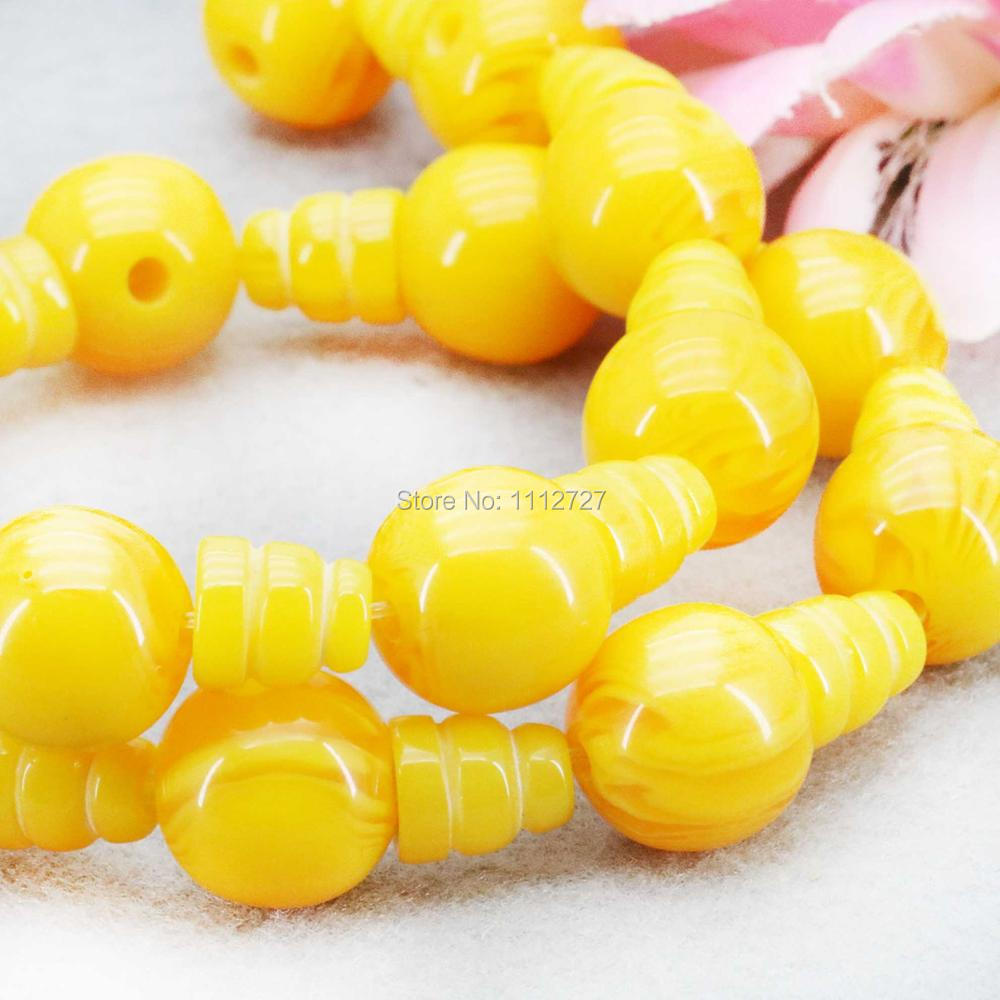 White Yellow Imitation Beeswax 3 hole beads Jewelry Amber Stone Loose Stripe Beads Yellow Opaque Resin Accessories DIY 14mm