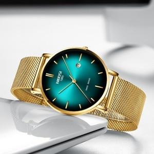 Image 3 - NIBOSI 男性トップの高級超薄型日付時計男性ブルースチールメッシュストラップビジネス · スポーツクォーツ腕時計男性時計