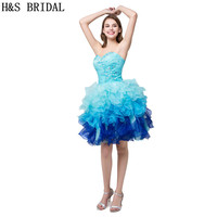H&S BRIDAL White Green Blue cocktail dresses Sexy Sweetheart Beaded Organza cocktail party dresses Mini Short Prom Dresses