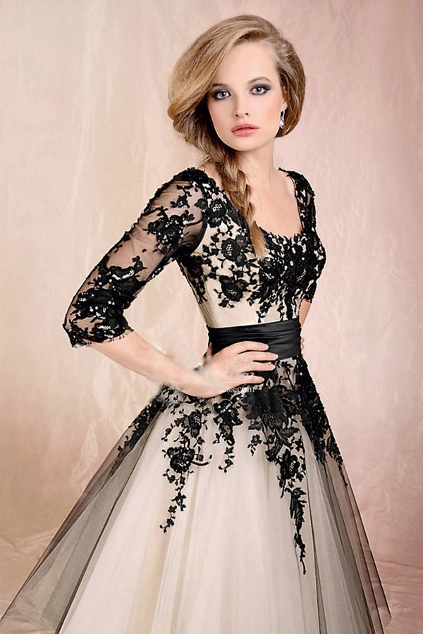 Black-And-White-Wedding-Dress-Tea-Length-Wedding-Dresses-Sleeves-2015-Lace- Wedding-Dress-Organza.jpg