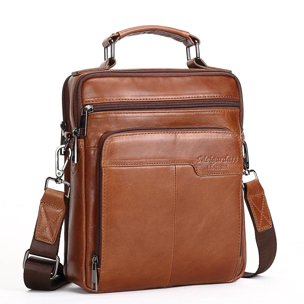 2580e1ffa703 US $30.18 35% OFF MEIGARDASS Genuine Leather Messenger Bag Men Shoulder Bag  Travel Crossbody Bags for men business iPad Handbags Male Totes Purse on ...