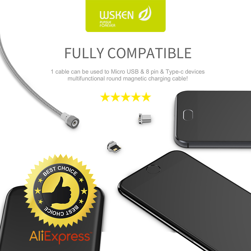WSKEN Micro Usb Cable Round Metal Magnetic For Xiaomi For iPhone Charging X Cable Android Micro