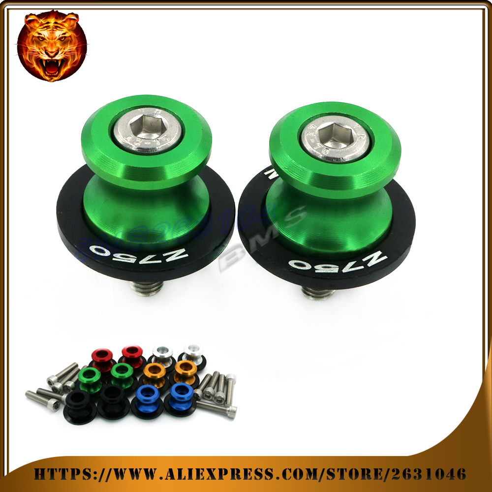 Motorcycle Aluminum Swingarm Spools Slider Stand Screw 0.393 inch For KAWASAKI  Z750 750 NINJA with LOGO  Green Accessories