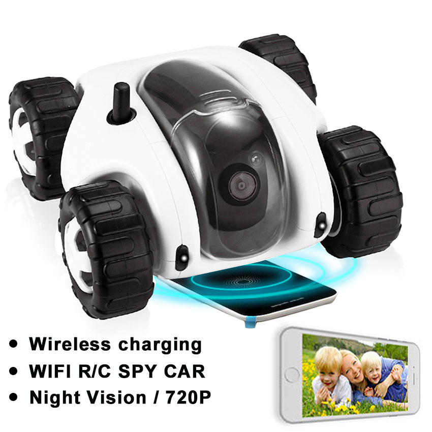 Wireless Charger WIFI Remote Control Car with fpv camera infrared night vision camera video toy car tanks Real time video call  infrared remote control tarantula with light trick toy