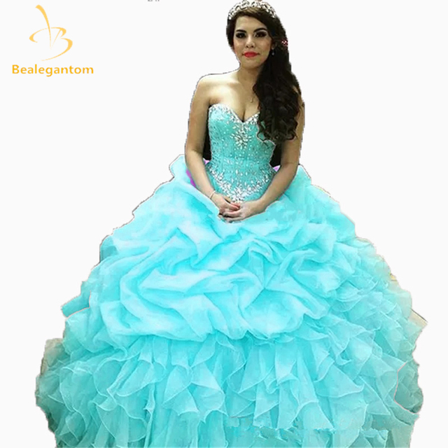 81fddcbda1d 2018 New Custom Made Yellow Quinceanera Dresses Ball Gown Sweetheart  Beadings Crystals Floor Length Sweet 16 Dress 2-26W QA148