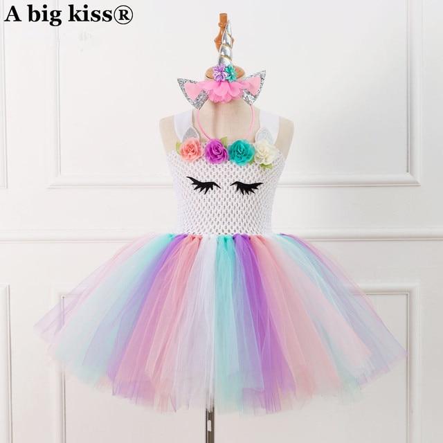 c035563df0b New custom handmade gauze princess tuxedo Oumeifeng unicorns TUTU dress  send hair jewelry girl dress girls tutu dress
