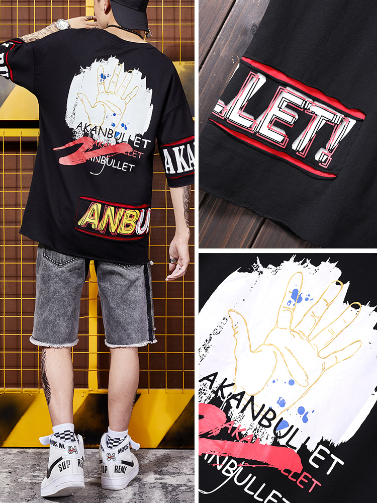 Hip hop summer trend personalized sticker BF men's street breeze behind creative printed loose half sleeved T-shirt 3