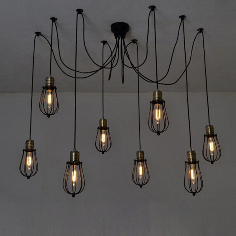 American Country Industrial Vintage Loft Style Chandelier 8 Heads Net Grapefruit Lamp Coffee Shop Decoration Light Free Shipping 3 5 heads american industrial creative style vintage pendant light parlor light coffee shop decoration lamp free shipping