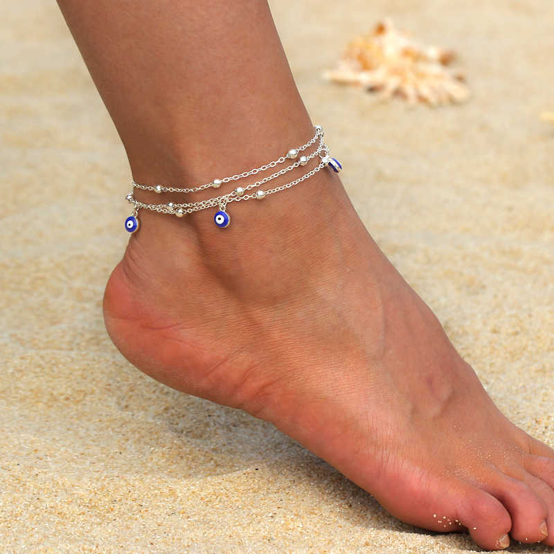 Detail Feedback Questions about Boho Gold Silver Anklets for Women Girl  Bohemian Multilayer Chain Devil Eye Anklet Beach Bracelet DIY Foot Jewelry  Party ... 0b97368d90aa