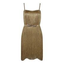 INDRESSME Elegant Solid Gloden Tassel Women Party Dress Sexy Spaghetti Strap Slash Neck Backless Mini Women Dress Vestidos  2017