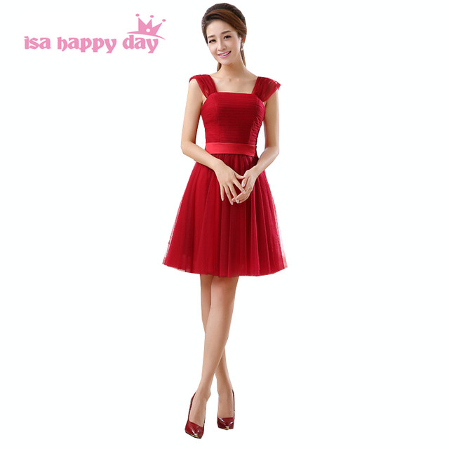 Online Shop wine red pastel teen girl bridesmaid maid dress bow back ...