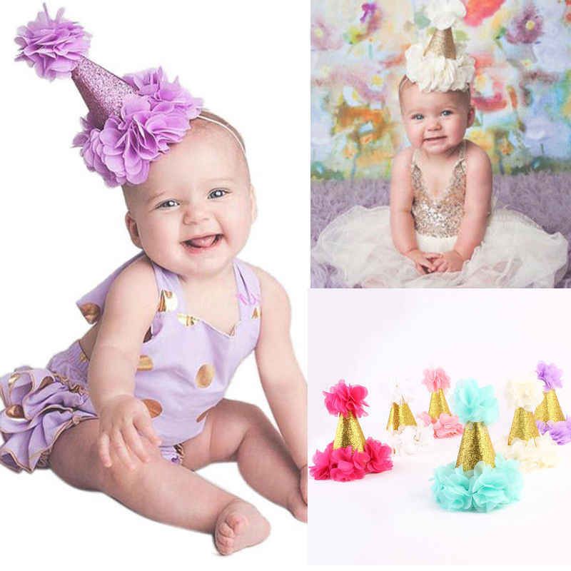 Mini Felt Glitter Gold Crown with Pretty Flowers Headbands Slim Hairband For Baby Girls 1st Birthday Party Gift Hair Accessories