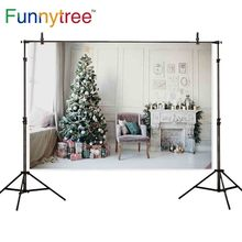 Fondo de árbol divertido sesión fotográfica Navidad vacaciones interior celebración muebles decoración vintage sillón Fondo fotófono